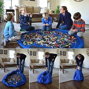 With the bag in hand, it's easy to plop down anywhere and play! Spread out the bag and it becomes the perfect circular play mat for building things and combing through small pieces.With the pull of a drawstring, the play mat easily folds...
