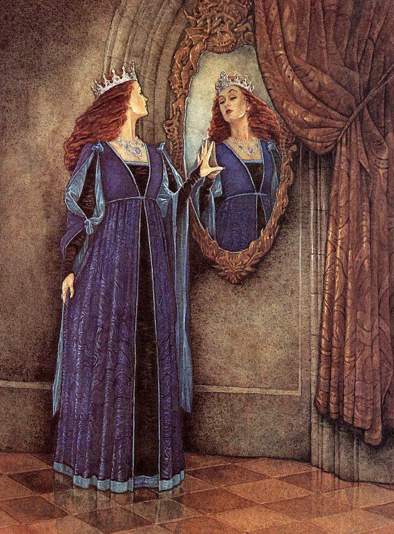 Image result for original snow white illustrations of the wicked queen and her mirror