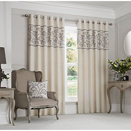 """Fully Lined Modern Eyelet Curtains with Hand Embroidered Trailing Leaf Pattern Dove Grey Cream Curtain Pair 66"""" x 90"""" ( bedroom ), http://www.amazon.co.uk/dp/B00VIH08IS/ref=cm_sw_r_pi_awdl_0a43vb0FFX3N1"""
