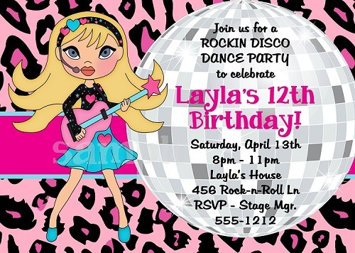Girls Rock Star Disco Dance Party Birthday Invitations And