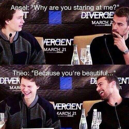 I don't even know where to pin it! Divergent and TFIOS -Theo James and Ansel Elgort aka Thansel - I'M DYING!!!