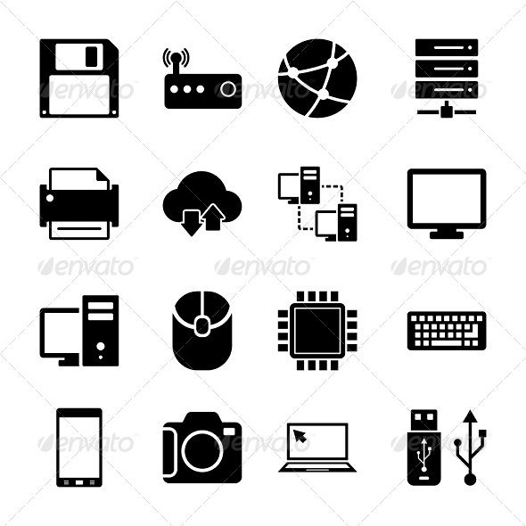 Technology Icons Set #GraphicRiver Technology Icons Set. Item contains EPS8, Ai, JPG and PSD formats. You can easy to change size and color of icons. …