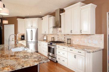 love the corner fridge- Cabinet Lines - traditional - kitchen ...