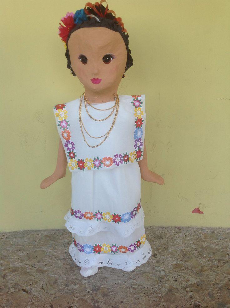 Yucateca  girl piñata, mestiza yucateca piñata