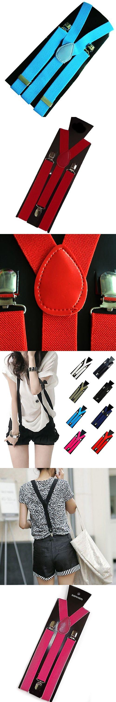 Mens Womens Unisex Clip-on Suspenders Elastic Y-Shape Adjustable Braces  9DJ7