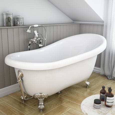 Astoria Roll Top Slipper Bath with Chrome Leg Set - 1550mm