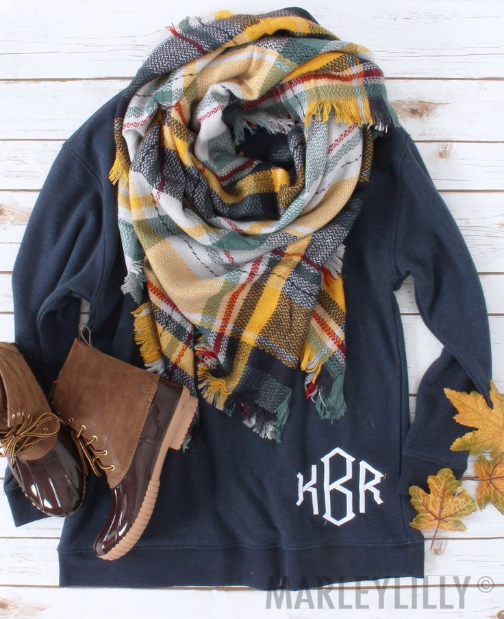 Monogrammed Sweatshirt + Plaid Blanket Scarf = ❤️❤️❤️