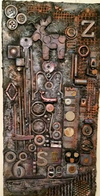 Mixedmedia on canvas with found objects.