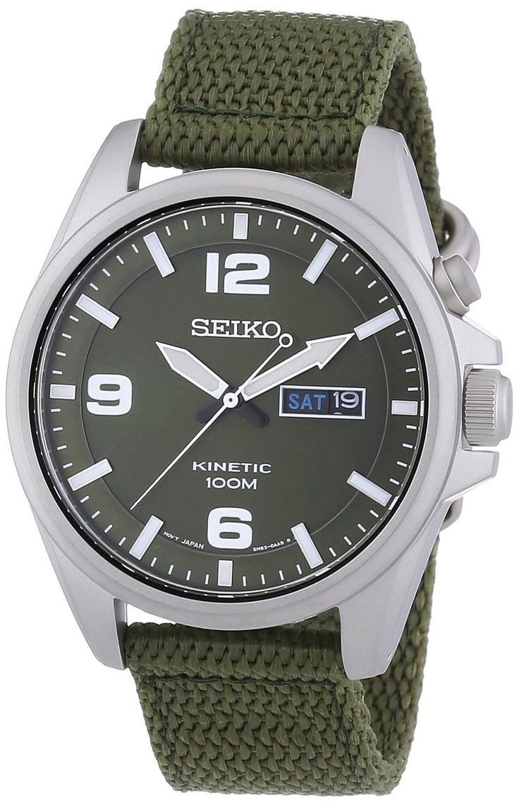 Amazon.com: Seiko SMY141P1 Green Dial Green Canvas Mens Watch: Seiko: Watches
