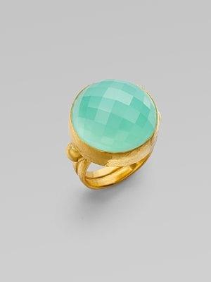 Gurhan Aqua Chalcedony & 24K Gold Ring $2,960