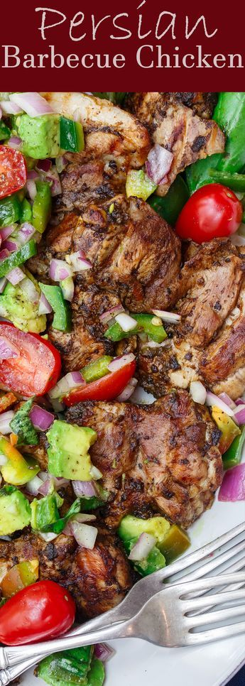 Persian-Style Barbecue Chicken Thighs Recipe | The Mediterranean Dish. Quick recipe for flavor-packed, tender chicken with Persian flavors. No waiting with this marinade! Top the chicken with our easy tomato avocado salad! See the full recipe on TheMediterraneanDish.com