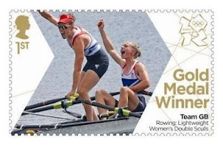Gold Medal Winner stamp #10 - Rowing: Lightweight Women's Double Sculls, Katherine Copeland and Sophie Hosking.