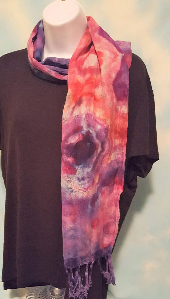 Clearance Tie Dyed Scarf Cotton Tie Dyed Scarf With Fringe Tie Dye Scarves Fall Fashion Accessories Orange Scarf
