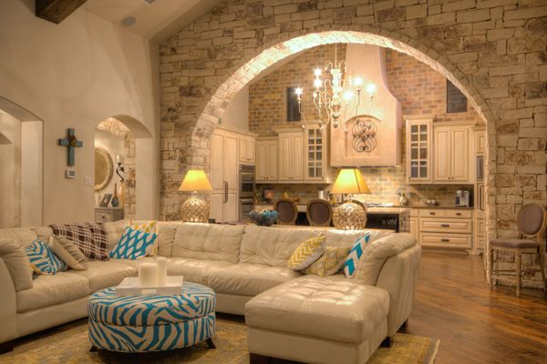 Stone arch into kitchen indoor doors windows archways for Designs of arches in living room