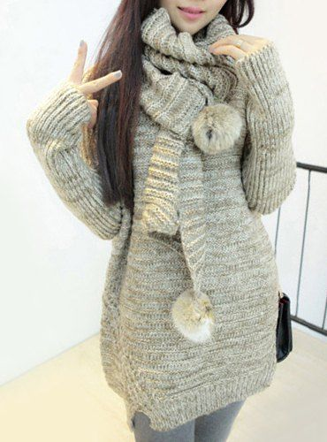 Ladylike Women's Scoop Neck Pure Color Long Sleeve Long Sweater with Scarf