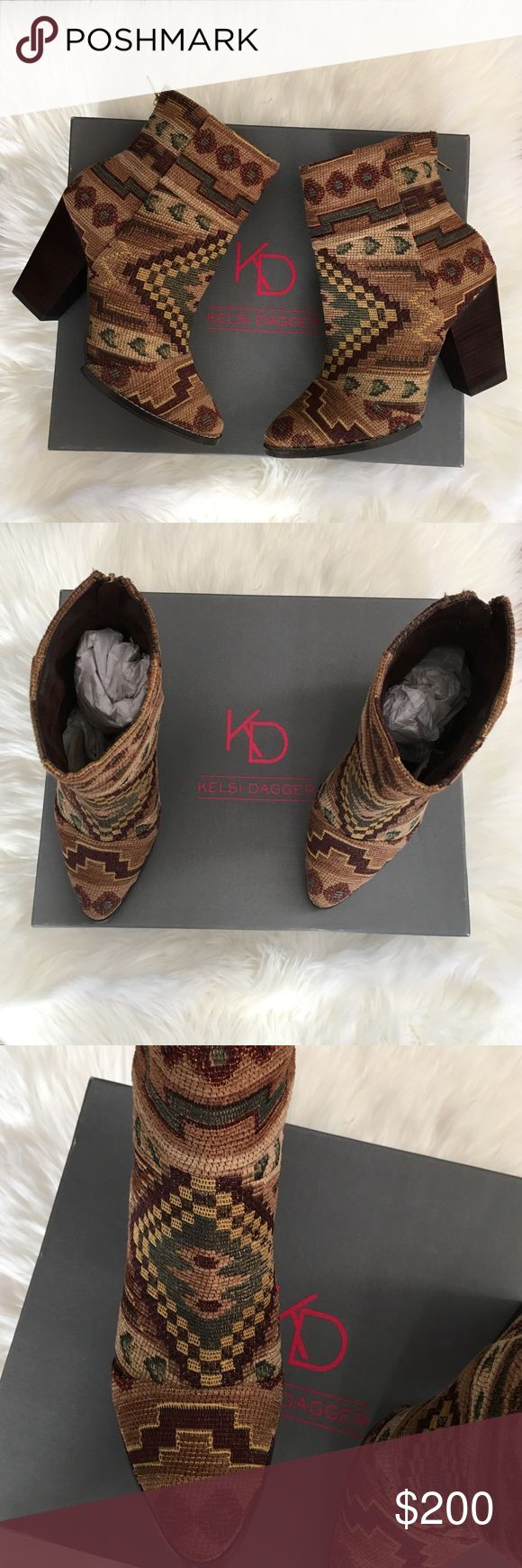 Kelsi Dagger Zidane Tapestry Boots These boots are new in box and hard to find. They are a tapestry design. Very boho. Perfect for a bohemian style. Great with jeans or a little black dress. Offers welcome! Kelsi Dagger Shoes Ankle Boots & Booties