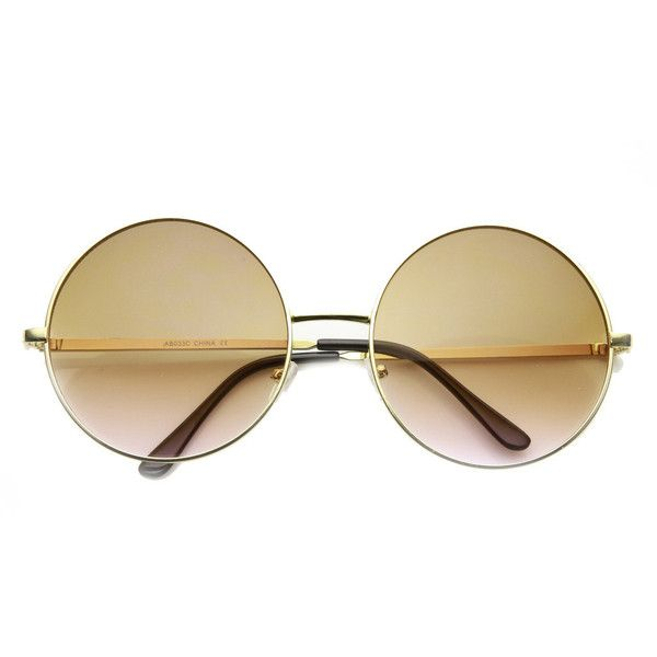 Women's Retro Hippie Oversize Round Sunglasses With Colorized Gradient... ($11) ❤ liked on Polyvore featuring accessories, eyewear, sunglasses, retro circle sunglasses, oversized circle sunglasses, hippie glasses, round frame sunglasses and round metal sunglasses