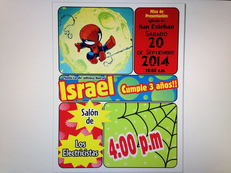 Invitación Spiderman para fiesta de cumpleaños birthday party invitation