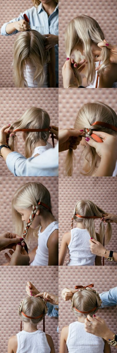 A sweet tutorial on creating Heidi braids with a ribbon woven in.