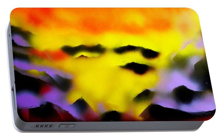 Land Of Heavens Portable Battery Charger Printed with Fine Art spray painting image Land Of Heavens by Nandor Molnar (When you visit the Shop, change the orientation, background color and image size as you wish)