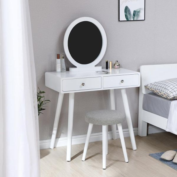 Us 57 03 30 Off Dresser Table Mirror With Chair Set Vanity Table Makeup Stool Wooden 2 Drawers Modern Tocador Mirror Table Dresser Table Furniture Vanity