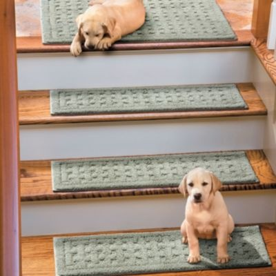 "Weave Washable Stair Treads  ""These anti-slip stair treads will protect your wood flooring while providing more secure footing for you and your pets. Made of 100% plush cotton, the Weave Washable Stair Treads are backed by non-skid latex, so no rug pad is needed."""