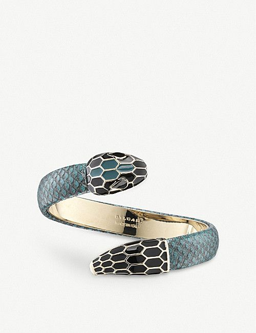 a39a58c3a BVLGARI Serpenti Forever leather and enamel bracelet | Bulgari in ...