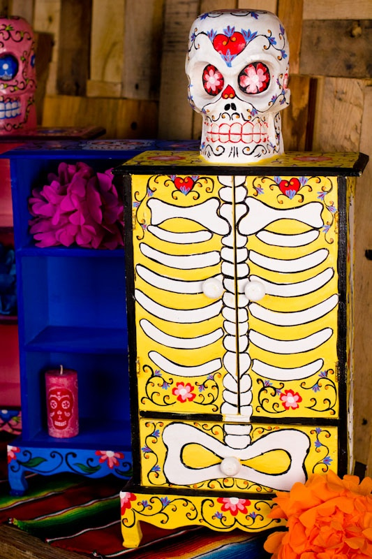 """- Hand Crafted Day of the Dead Cabinets - $59.95 to $79.95 each  Yellow Cabinet - Approximately 28"""" tall"""