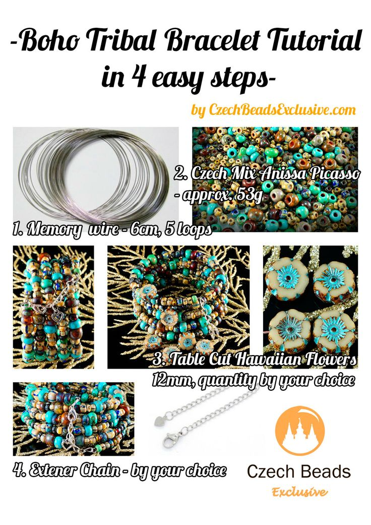 Czech Round Mixed Seed Beads – Beaded Tribal Boho Bracelet free tutorial (PDF) #DIY #czechbeadsexclusive #czechbeads #tutorial #pattern #bracelet