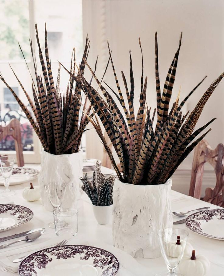 Festive flower free centerpieces feathers sheds and