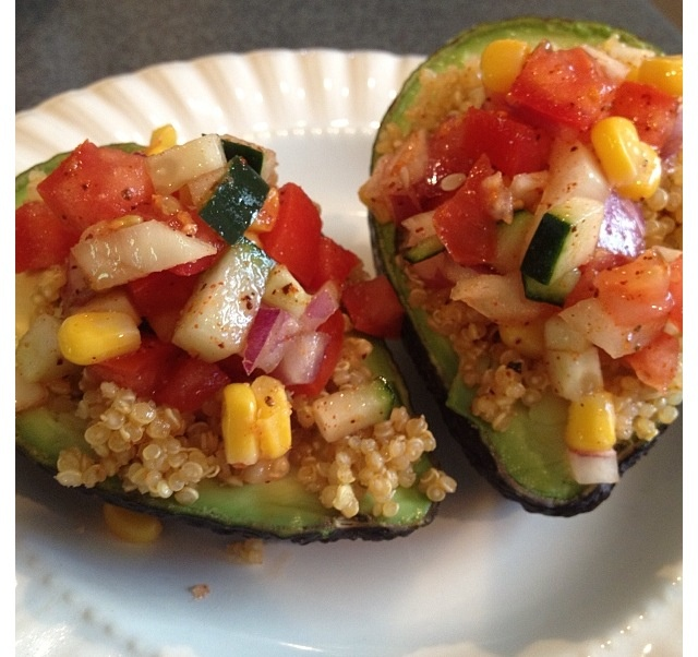 Chili lime Quinoa stuffed avocados with Cucumber, tomatoes, red and ...