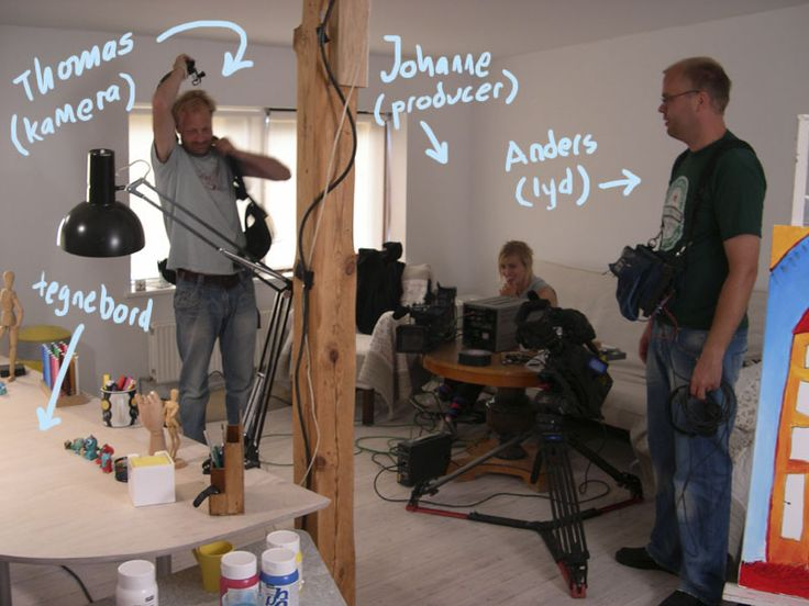 """The filming crew from """"Snip Snap Snude"""". Children's tv show, 10 episodes. Danmarks Radio."""