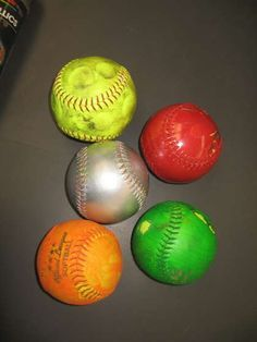 The purpose of this drill is to improve reaction time and thinking at the plate. Paint several softballs with different bright colors, and place them in a bucket behind the mound. Have someone place one of the balls in the pitcher's glove without letting the batter see the color. The pitcher then calls out a color before pitching the ball. The batter can only swing if the ball matches the color the pitcher called out (and if the pitch is in the strike zone).