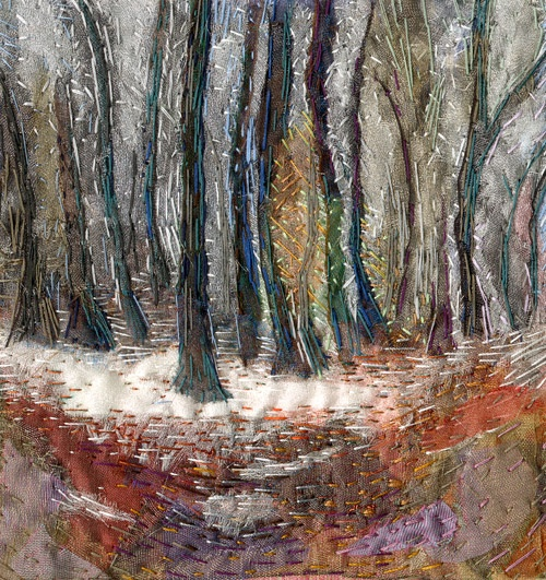 'First Fall' an original hand embroidered textile by Rachel Wright.