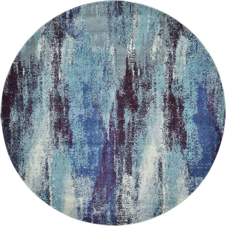 Blue 8' x 8' Casablanca Round Rug | Area Rugs | eSaleRugs