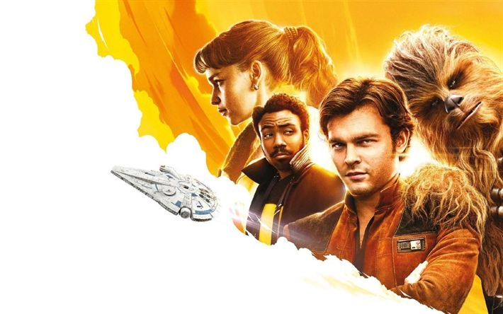 Download wallpapers Solo A Star Wars Story, poster, 2018 movie, lden Ehrenreich, Emilia Clarke, Donald Glover