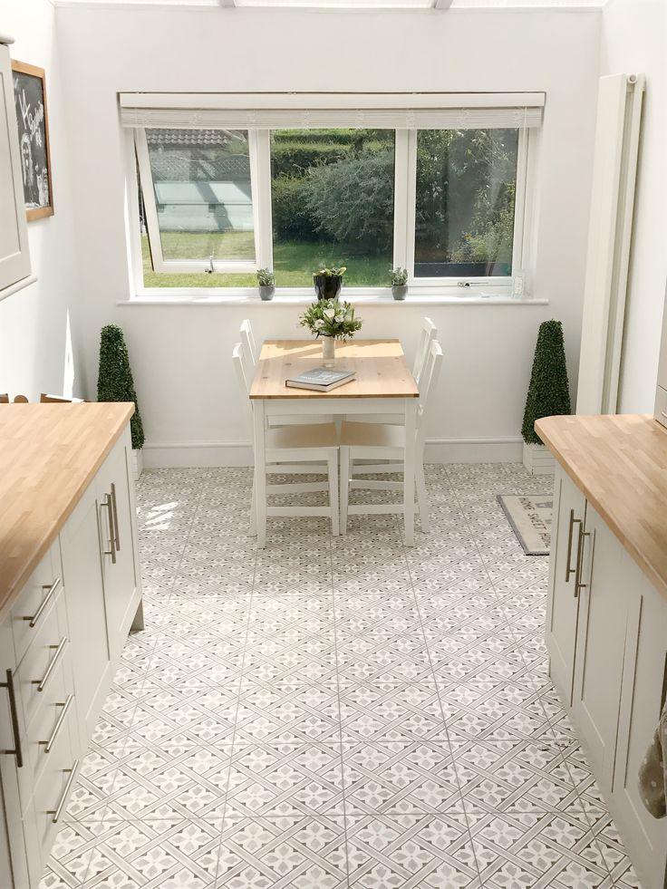 Shaker kitchen vintage tiles Laura Ashley grey white