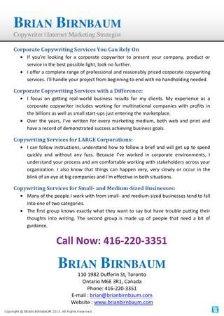 Brian birnbaum offers a complete range of professional and reasonably priced corporate copywriting services.