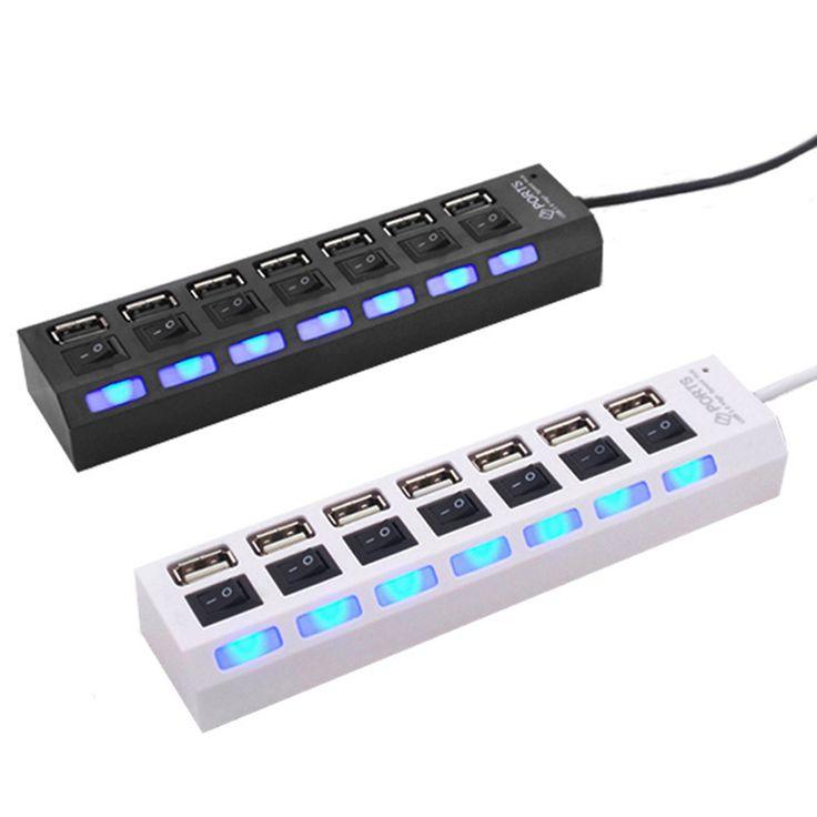 7 Ports Haute Vitesse USB Hub 480 Mbps USB 2.0 Hub On/Off Hub USB Splitter Pour PC Portable Ordinateur Périphériques Accessoires