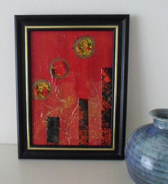 An Original Artwork Housewarming Gift Red Mixed Media Collage