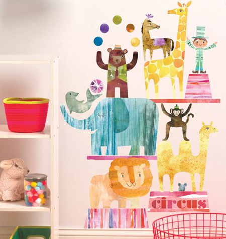 Circus time wall play peel stick decor from wallies adorable for nurseries and kids