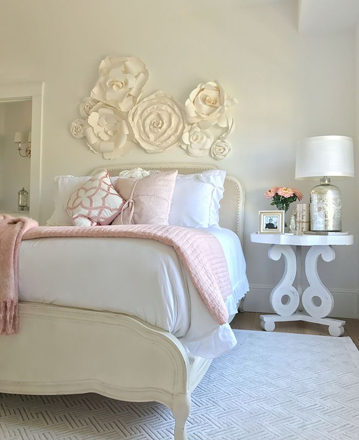 Home Goods Decorating Ideas: Blush And White Spring Bedroom
