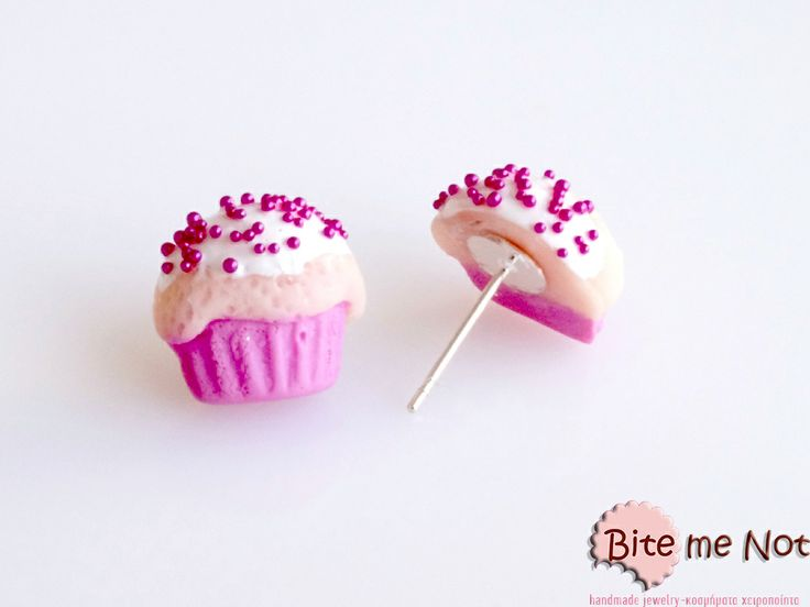 Strawberry cupcakes!  Handmade out of polymer clay-non edible-wearable-mini cupcakes