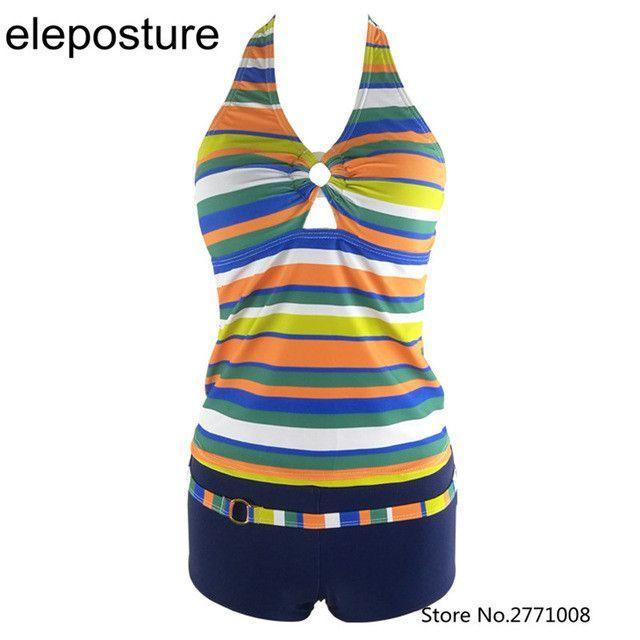 Colorful Stripes Tankini With Shorts Push Up Bikini Set Halter Strappy Swimwear Women High Waist Swimsuit Brazilian Bathing Suit