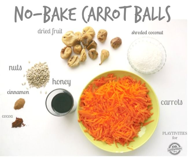 No Bake Carrot Balls: I'd probably use dates and make it more of a lara bar type snack.