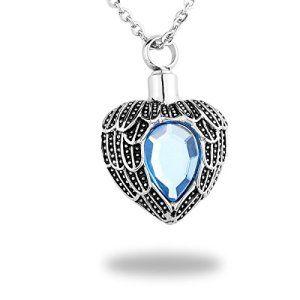 HooAMI Bijoux Pendentif Urnes avec Diamante Bleu Acier Inoxydable Forme du Coeur Bijoux Cremation