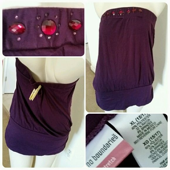 Jeweled Purple Bandeau Top Stretchy strapless top with elastic at top, banded drop waist. Stretchy tshirt-like fabric. Never worn. No Boundaries Tops