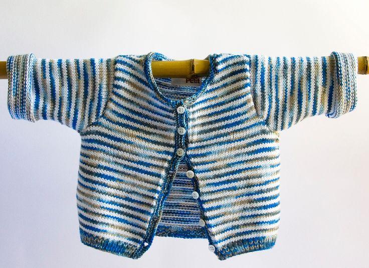 Chaqueta rayas bebé multicolor azul talla 6 meses, para primavera y verano, tejida a mano con hilo elástico de excelente calidad.  Cuidados