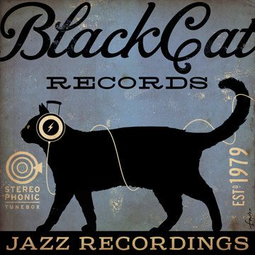 BLACK CAT records original graphic illustration by geministudio, $69.00