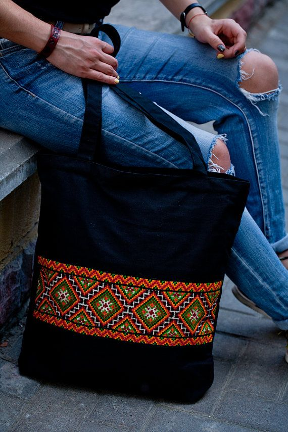 Black #tote black canvas #bag with #ukrainian by GutsulkaBeauty